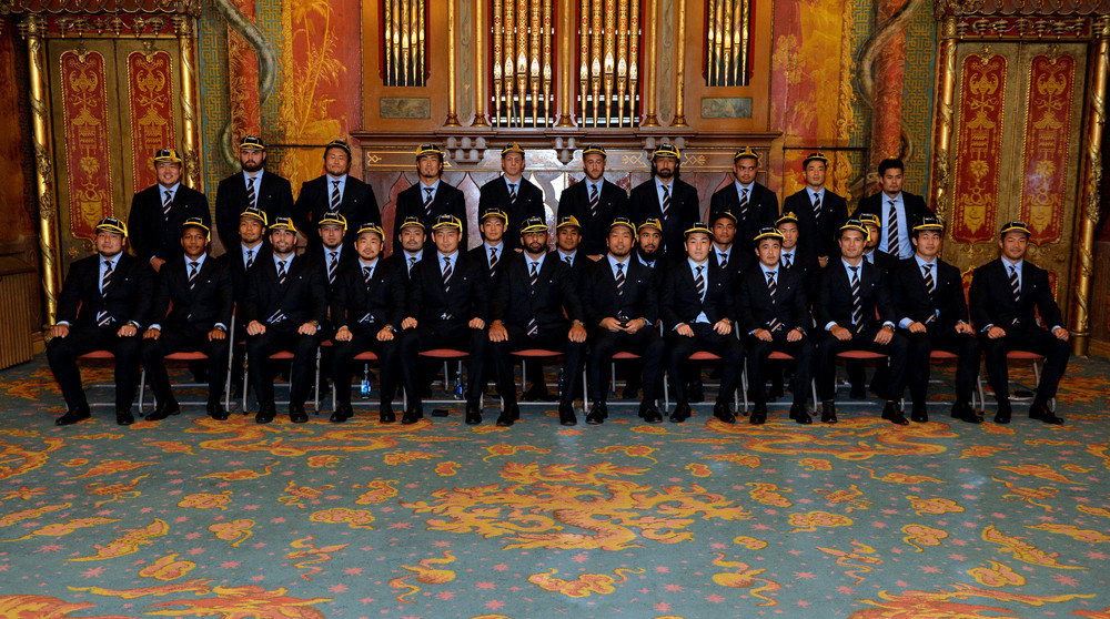 BRIGHTON, ENGLAND - SEPTEMBER 11: 2015 Japan World Cup team attends a welcoming ceremony at Brighton Dome on September 11, 2015 in Brighton, England. (Photo by Anthony Harvey/Getty Images for ER2015)