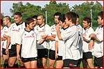 練習前の選手たち