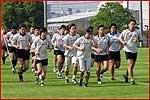 辰巳で最後の練習を行う日本代表