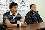 同志社大学の中尾晃監督(右)、仙波智裕主将
