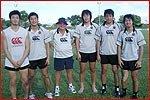 左から山田選手、仙波選手、リエゾンのジェフ、進藤選手、端迫選手、高田選手