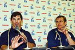 アメリカ代表のトム・ビルアップス ヘッドコーチ(左)、コート・シュベルト キャプテン