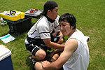 15人制でもお世話になった渡邊トレーナーと暑いなか激しい練習を終えた上田選手