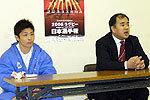 関東代表の山神監督(右)、小池キャプテン