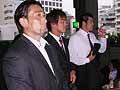 挨拶する木曽選手、左に熊谷選手、手間に大野選手