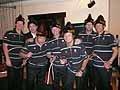 試合後のファンクション。コーチ陣にはカザフスタンの民族衣装が贈られた