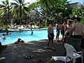 練習後すぐに宿舎内のプールでアイスバスとリカバリーを実施