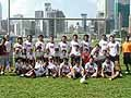 香港日本人学校の子供たちと。練習中には、大声で「頑張れ、ニッポン」と熱いエールをおくってくれました