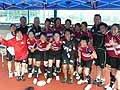 おめでとう!女子7人制日本代表。右から3人目がドゥーリーヘッドコーチ