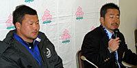 東海大学の木村監督(右)と、岸キャプテン