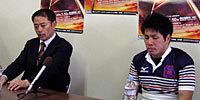 関西学院大学の牟田監督(左)と、室屋主将