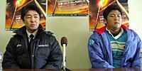 筑波大学の古川監督(左)と、高木主将