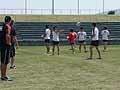 ビジョンドリルを含めたパストレーニング。コーチ陣の足の向きを見ながらパス