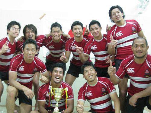 喜びの7人制日本代表メンバー。ロッカーにて