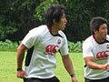 長野選手。右は築城キャプテン