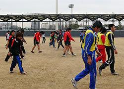 太田コーチによる男女合同ウォームアップ