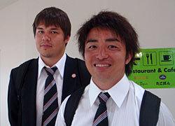 主将の入江選手。奥はチームメイト、三洋の飯島選手