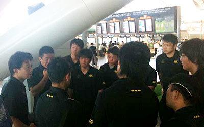 関西空港にてポルトガル出発を前に、村田監督より