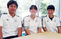 学生トレーナー。左:高橋君、中央:猪瀬さん、右:土山さん