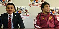 早稲田大学の辻監督(左)と有田キャプテン