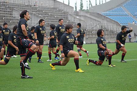 写真は6月26日、「RUGBY:FOR ALL ニッポンのために!東日本大震災復興支援チャリティーマッチ 日本代表 対 トップリーグXV」の際の、日本代表のウォーミングアップの様子