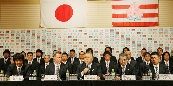 日本選手団全員出席の記者会見